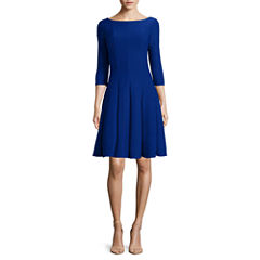 Danny & Nicole® 3/4-Sleeve Pintuck Fit-and-Flare Dress - Petites
