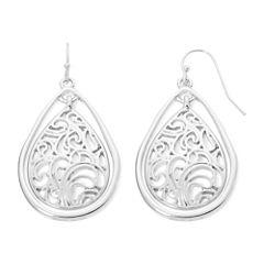 Liz Claiborne® Silver-Tone Lacy Teardrop Drop Earrings