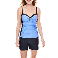 Free Country® Shirred Bandeaukini Swim Top or Drawstring Swim Shorts