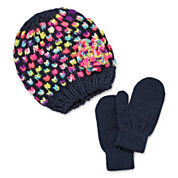 Okie Dokie® 2-pc. Beanie Beret & Magic Mitten Set - Girls 2-6