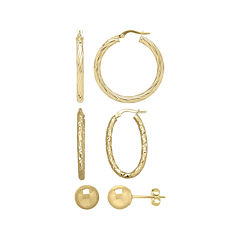 Made in Italy 10K Yellow Gold 3-pr. Hoop and Stud Earring Set
