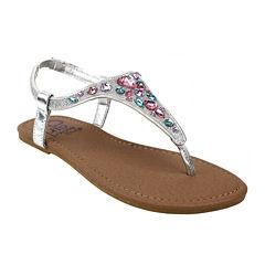 OMGirl Felicity Multicolor Rhinestone Girls Elastic-Strap Sandals - Little Kids