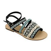 OMGirl Izzy Multicolor Tapestry Buckle-Back Girls Strappy Sandals - Little Kids