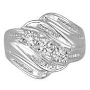 Love Lives Forever Womens 1/2 CT. T.W. Round White Diamond 10K Gold 3-Stone Ring