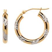 10K Two-Tone Hoop Earrings