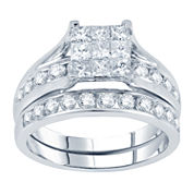 2 CT. T.W. Princess & Round Diamond Bridal Ring Set
