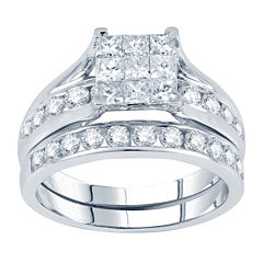 tw princess round diamond bridal ring set - Jcpenney Wedding Ring Sets