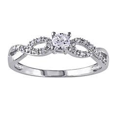 1/10 CT. T.W. Diamond & Lab-Created White Sapphire Engagement Ring