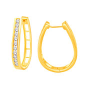 1 CT. T.W. Diamond 14K Yellow Gold Over Silver Hoop Earrings