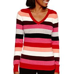 Worthington® Long-Sleeve V-Neck Pullover Sweater - Tall