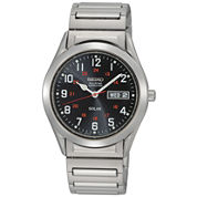 Seiko® Mens Silver-Tone Solar Watch SNE179