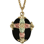 Black Hills Gold Jewelry by Coleman® & Onyx Cross Pendant Necklace