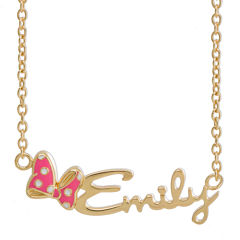 Disney Personalized Minnie Mouse 10K Gold/Sterling Silver & Enamel Name Necklace