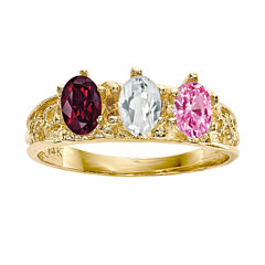 Personalized 14K Yellow Gold Birthstone Engravable Ring