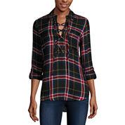 Self Esteem® Long-Sleeve Plaid Lace-Up Shirt - Juniors