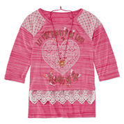 Knit Works® 3/4-Sleeve Screen-Printed Top with Necklace - Girls 7-16