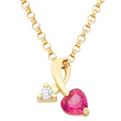 Heart And Arrow-Shaped Girls 1/4 CT. T.W. Red Cubic Zirconia 14K Gold Pendant Necklace