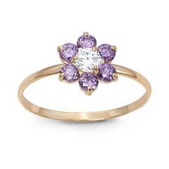 Girls 1/5 CT. T.W. Purple Cubic Zirconia 10K Gold Delicate Ring
