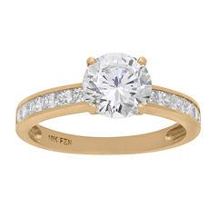 Diamonart Womens 3 CT. T.W. Round White Cubic Zirconia 10K Gold Engagement Ring