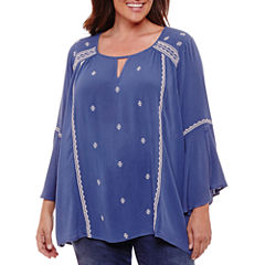 Unity World Wear Long Bell Sleeve Embroidered Blouse - Plus