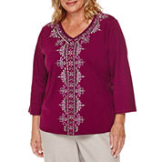 Alfred Dunner® Veneto Valley 3/4-Sleeve Center Scroll Tee - Plus