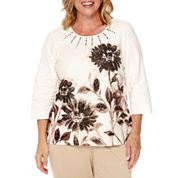 Alfred Dunner® 3/4-Sleeve Placed Floral Top - Plus