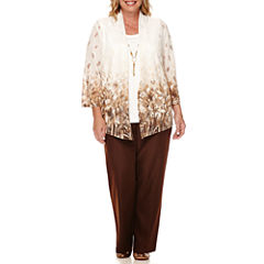 Alfred Dunner® Santa Fe 3/4-Sleeve Necklace Top or Pull-On Pants - Plus