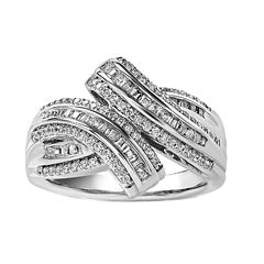 Womens 1/2 CT. T.W. White Diamond Sterling Silver Cocktail Ring