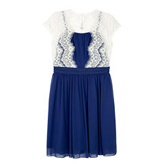 by&by girl Short Sleeve Cap Sleeve Fit & Flare Dress - Big Kid Girls