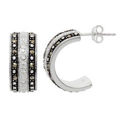 Sparkle Allure Le Vieux Marcasite Silver Over Brass Hoop Earrings