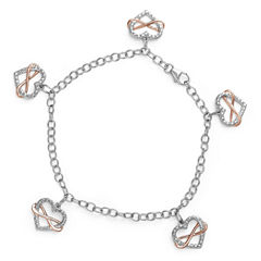 Womens White Diamond Sterling Silver Charm Bracelet