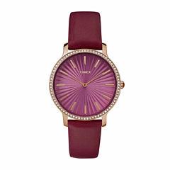 Timex Metropolitan Starlight Womens Red Strap Watch-Tw2r511009j