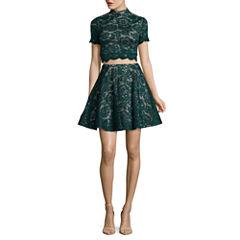 My Michelle Short Sleeve 2 Piece Party Dress-Juniors