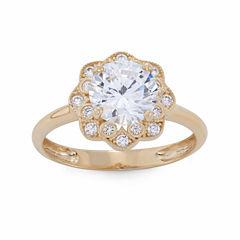 Diamonart Womens 2 1/4 CT. T.W. Round White Cubic Zirconia 10K Gold Engagement Ring