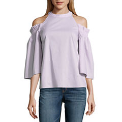 Worthington 3/4 Sleeve Cold Shoulder Shirt