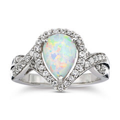 Lab-Created Opal & White Sapphire Ring