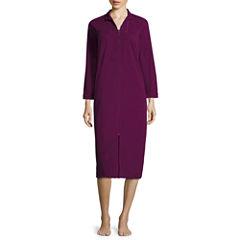 Coeur D' Alene Long-Sleeve Knit Waffle-Weave Zip Robe