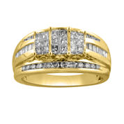 1 CT. T.W. Princess Diamond 3-Stone Engagement Ring