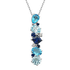 Sterling Silver Shades of Blue Cluster Pendant Necklace