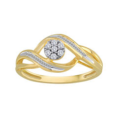 diamond blossom 1/5 CT. T.W. Diamond 10K Yellow Gold Cluster Ring