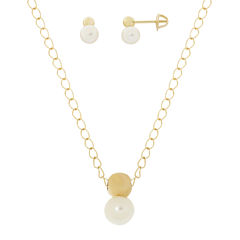 Cultured Freshwater Pearl 14K Yellow Gold Necklace and Earrings Set