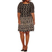 Danny & Nicole® Elbow-Sleeve Dot Textured Fit-and-Flare Dress - Plus