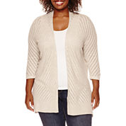 St. John's Bay® Long-Sleeve Pointelle Chevron Open-Front Cardigan - Plus