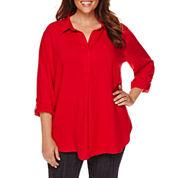 Liz Claiborne® Long-Sleeve Roll-Tab Blouse - Plus