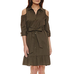 Worthington 3/4 Sleeve Cold Shoulder Belted Shirt Dress