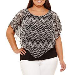 Alyx Short Sleeve Round Neck Knit Chevron Blouse-Plus