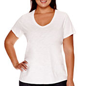 Stylus™ Short-Sleeve V-Neck Slub Tee - Plus