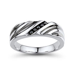 Mens 1/10 CT. T.W. Color-Enhanced Black Diamond Sterling Silver Wave Comfort Fit Ring