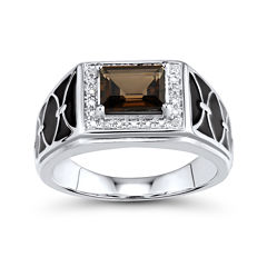 Mens Genuine Smoky Quartz and Diamond-Accent Sterling Silver Comfort Fit Ring