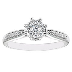 Enchanted By Disney Womens 1/4 CT. T.W. Genuine Round White Diamond 10K Gold Engagement Ring